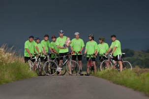 Colour photograph of riders preparing for the Lands End to John O'Groats cycle challenge to be completed over 12 days in September 2012. For more information see Just Giving dot com forward slash Poppysride.